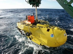 The expedition will use University of Hawaii's two battery-powered, one-atmosphere submersibles, Pisces IV (not pictured) and Pisces V (pictured), and will launch from the stern of Ka'imikai-o-Kanaloa for the seamount expedition.