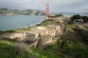 Battery Boutelle, one of five Home Land Security exhibition sites, overlooks San Francisco's Golden Gate; Photo: Nina Dietze