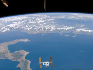Space station over the Ionian Sea.